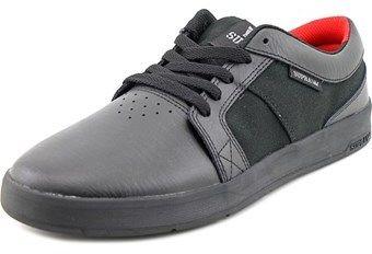 Supra Ineto Men Round Toe Leather Black Skate Shoe.