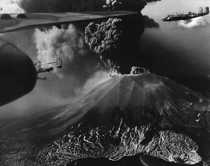 B-25s fly past erupting Vesuvius, Italy, 1944