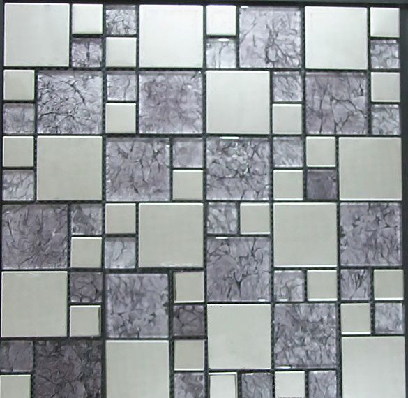 Glass Gold Foil and Silver Stainless Steel Mosaic Tiles www.cpmosaic.com