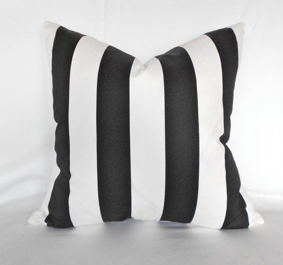 """Pillow Cover 1.5 """" Canopy Black White Stripe by Premier Prints Any Size ..26"""""""