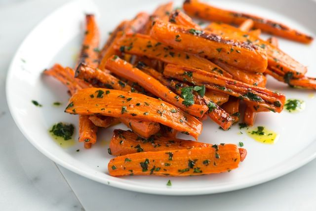 ROASTED CARROTS WITH PARSLEY BUTTER: ~ From: Inspired Taste.Com - By: Adam. ~ Roasted carrots are sweet, tender and completely delicious. Here, we toss them with a garlicky, parsley-laced butter. These are perfect as a side or tossed with even more roasted vegetables and turned into a main meal.