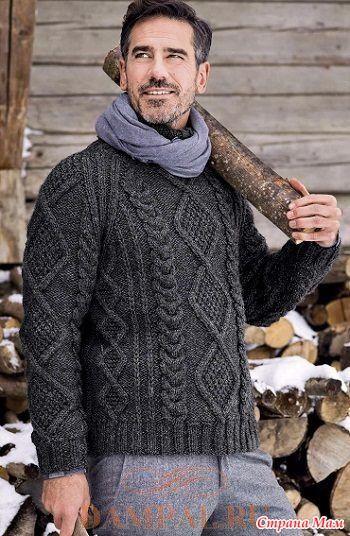 """Теплый мужской свитер фасона «реглан» насыщен рисунками со жгутами.  Описание вязания свитера переведено из журнала """"The Knitte  Размеры:  S, M, L, XL и XXl"""