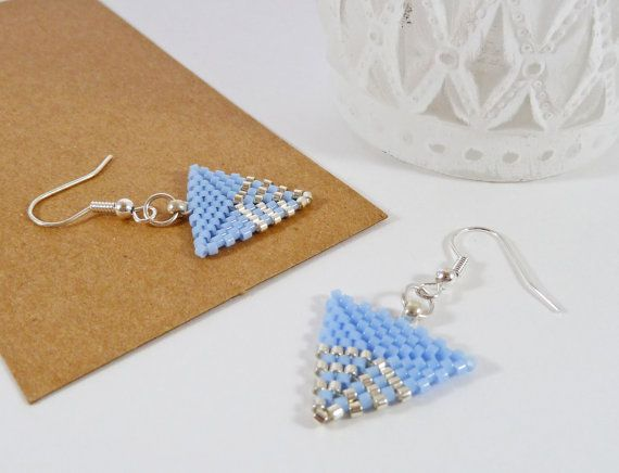 Light Blue Triangle Earrings Geometric by BeauBellaJewellery