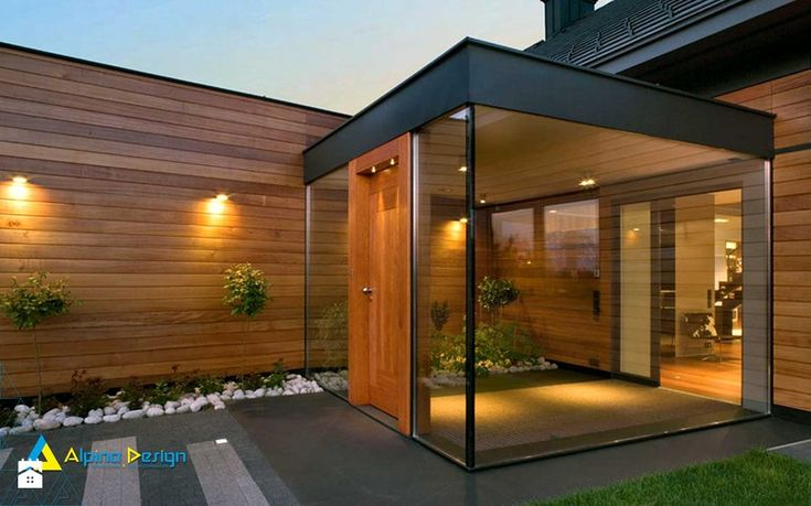 drzwi, okna, szkło architektoniczne - Średnie parterowe domy jednorodzinne z dwuspadowym dachem drewniane, styl klasyczny - zdjęcie od Alpina Design Ogrody Zimowe & Szkło Architektoniczne