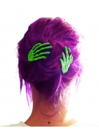 purple hair, green skeleton slides
