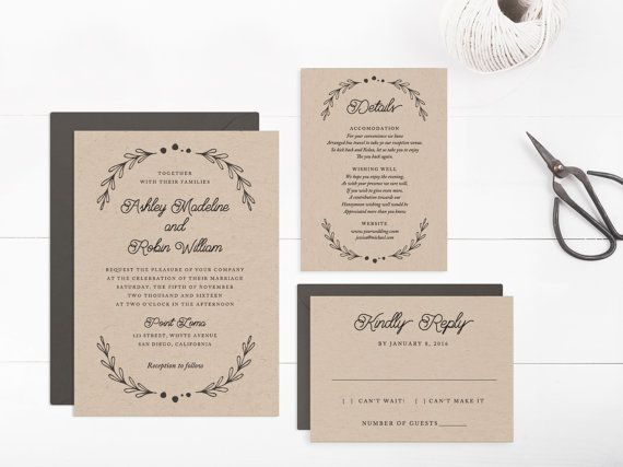 Printable Wedding Invitation Suite template, Editable Text and Artwork Colour, Instant Download, Edit in Word or Pages | The Dainty Suite