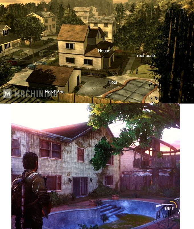 The Last of Us/Telltale games Walking Dead easter egg! That's what I was thinking when I walked into that area! I actually looked for Clementine! ;)