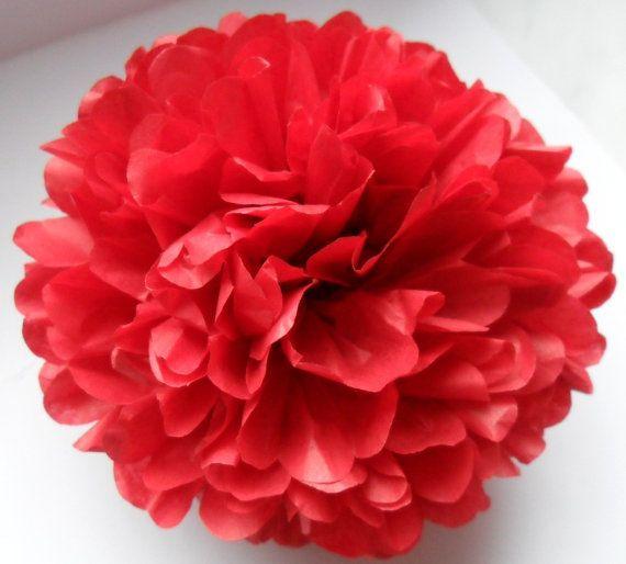 1 Cherry Red Tissue Paper Pom Pom  Wedding by PaperPomPoms on Etsy