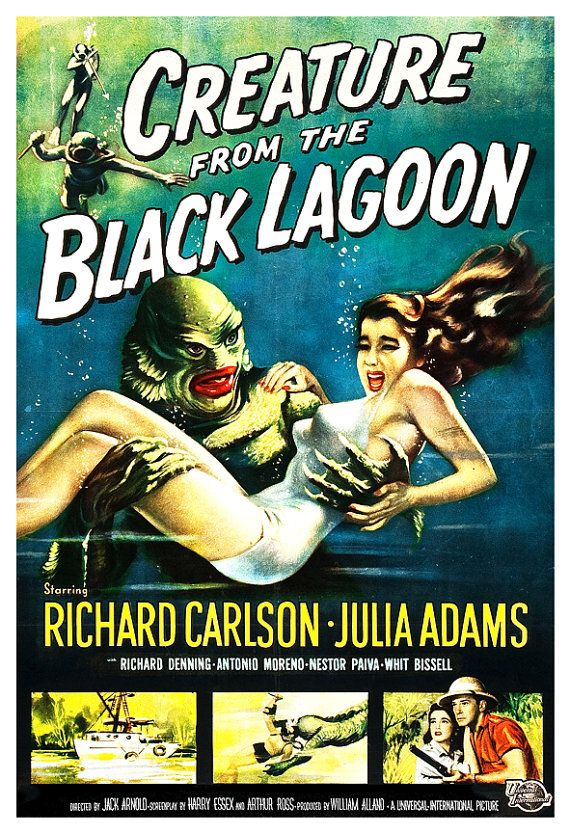 Creature From the Black Lagoon - Home Theater Decor - Horror Monster Movie Poster Print 13x19 - Vintage B Movie Poster - 50s kitsch by jangoArts, $19.50