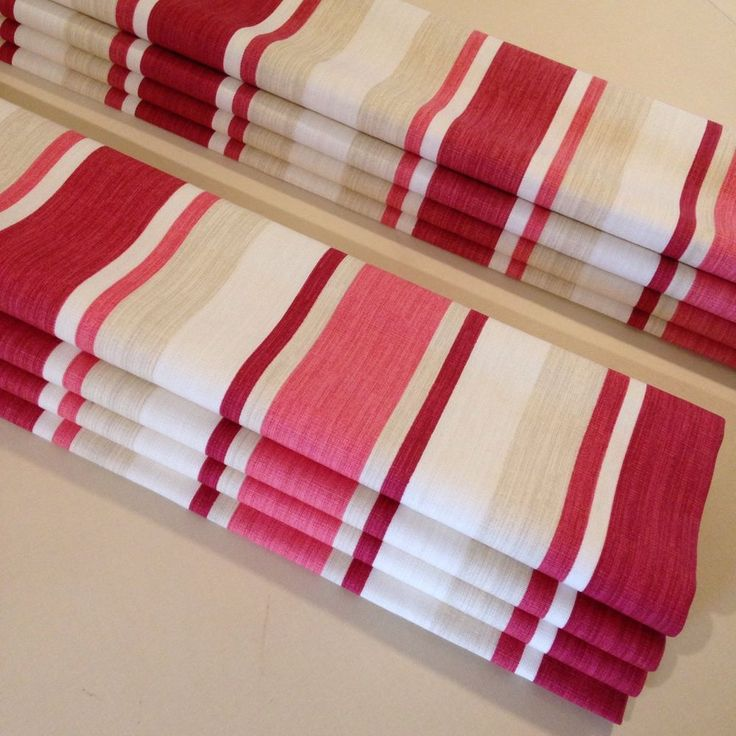 Made-to-Measure Interlined Roman Blind In Laura Ashley Awning Stripe Cranberry