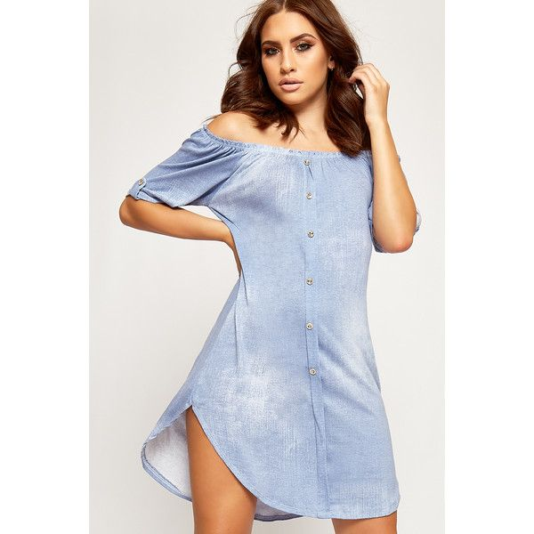 WearAll Denim Curved Dip Hem Bardot Shirt Dress (£20) ❤ liked on Polyvore featuring dresses, light blue, short blue dress, hi low dress, off the shoulder denim dress, t-shirt dresses and short sleeve dress
