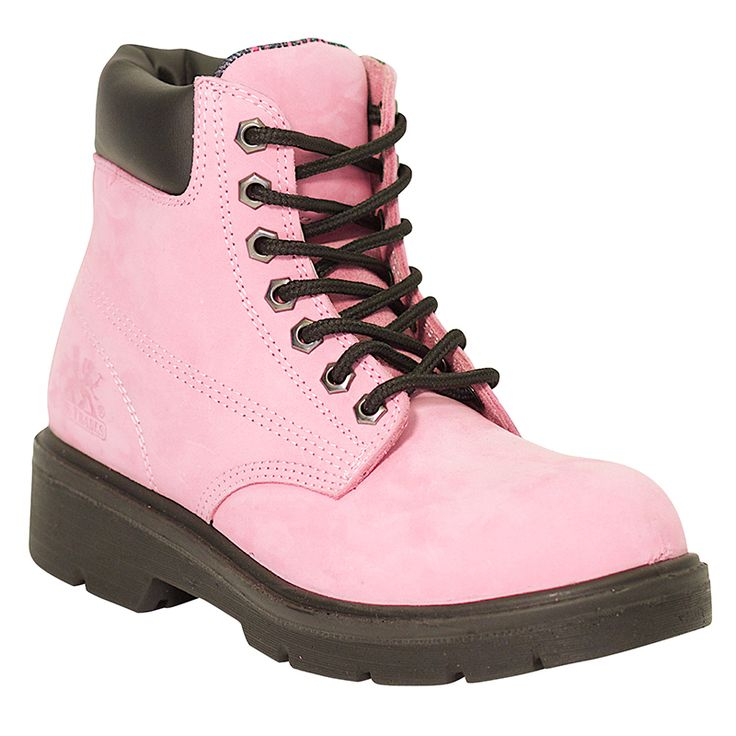 Pink Work Boots: Alice 6″ Industrial Waterproof Women's Work Boots $134.99 6″ Pink Nubuck leather upper Waterproof Two laces Steel toe Composite plate Rust proof eyelets Tri-tex® Waterproof breathable lining Two Density PU midsole Removable EVA insole Slip and Oil Resistant PU Outsole CSA approved Grade 1 ESR/EH Meets or exceeds ASTM F2413-05 requirements