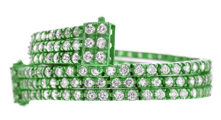bracciale triplo tennis verde