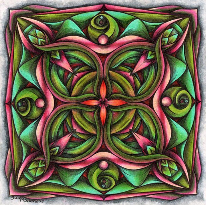 ::MANDALA#8::ANAHATA:: Tinta, lápices de colores y lejía. ENCARGO