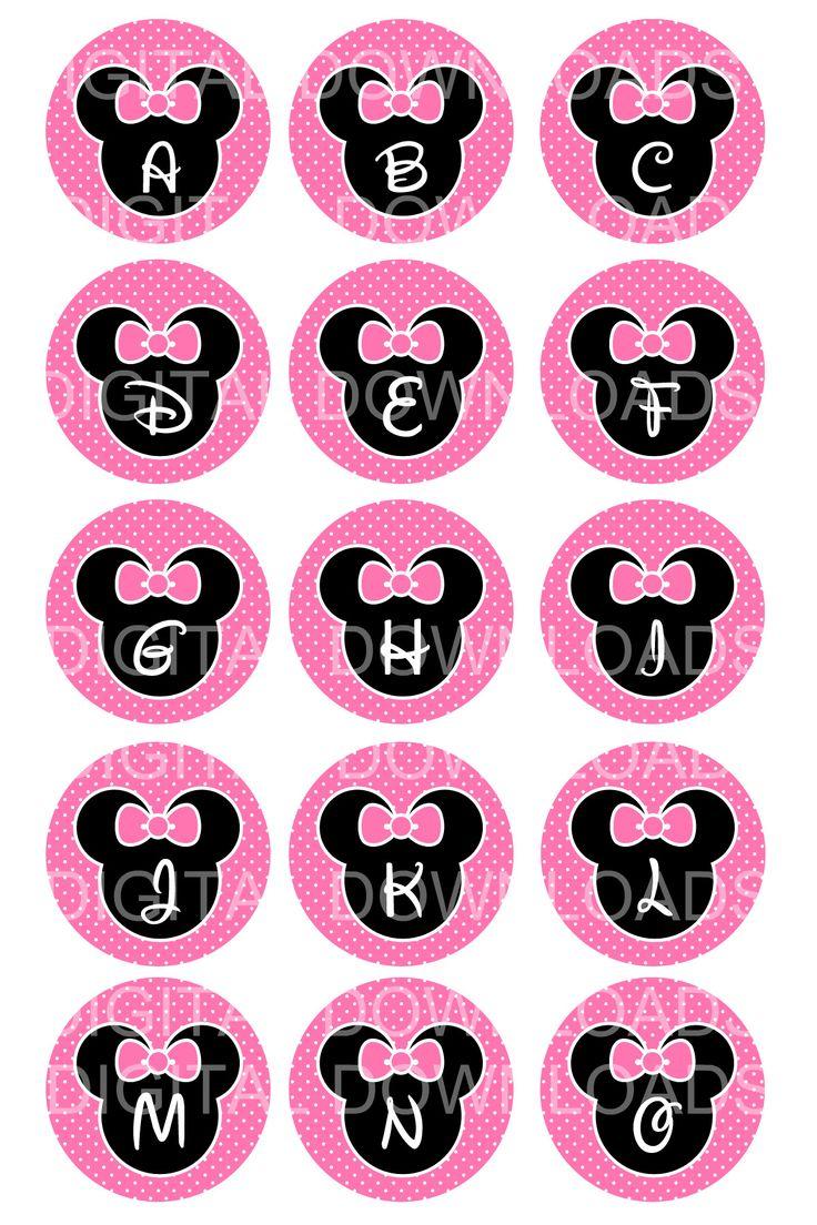 "free minnie mouse printables | Disney Minnie Mouse Alphabet Bottle Cap 1"" Circle Digital Download ..."