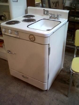 A fridge, sink, and stove all in one!!!! We need to think like they did back in the 50's, BABY!!!!  This is really cool.