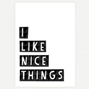 I Like Nice Things Black and White Monochrome Art Poster