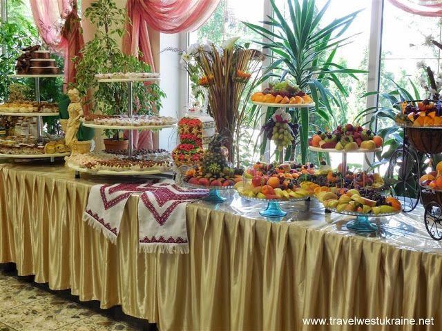Desserts and fruits table at West Ukrainian wedding ...