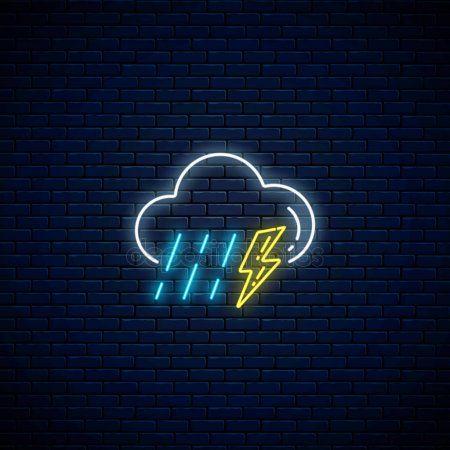 icon neon weather rain glowing app iphone aesthetic thunderstorm lightning symbols storm