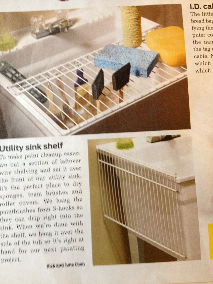 Utility sink shelf, have extra piece of wire closet shelving for this