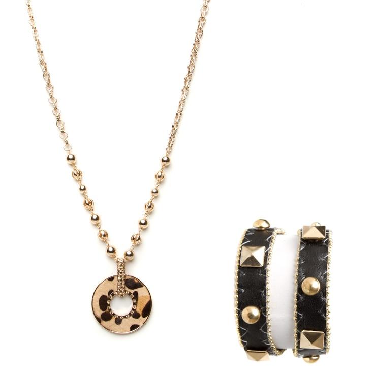 Seen & Spotted wraparoud rocker cuff & chain-embellished, leopard print pendant