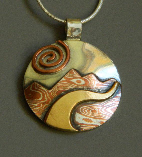 Mixed metal jewelry, mokume gane pendant, silver, brass Mountain River mixed metal pendant