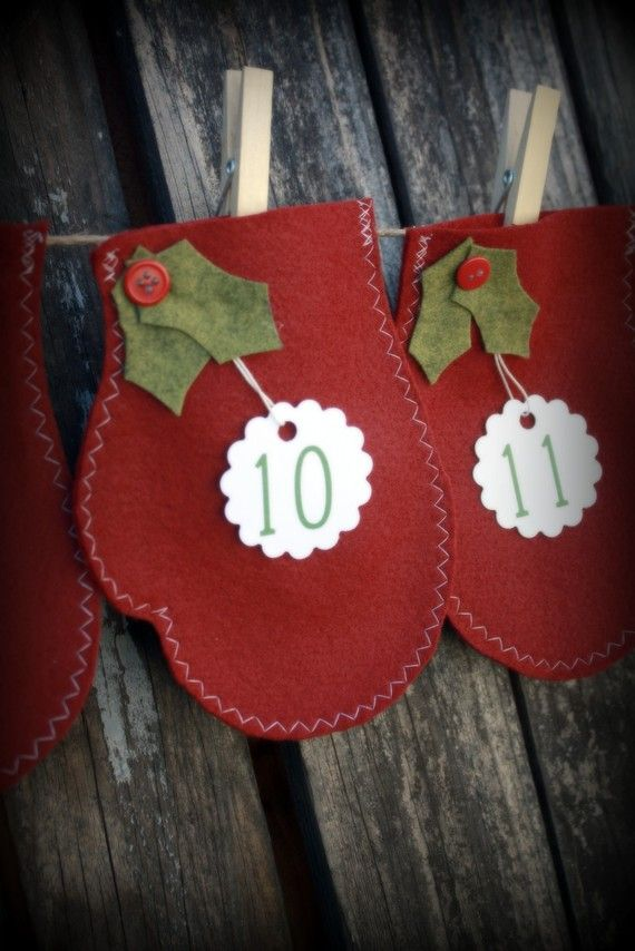Mitten advent calendar. Would be cute as an ornament too!