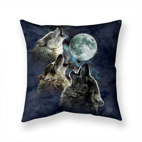 Three Wolf Moon In Blue Throw Pillow