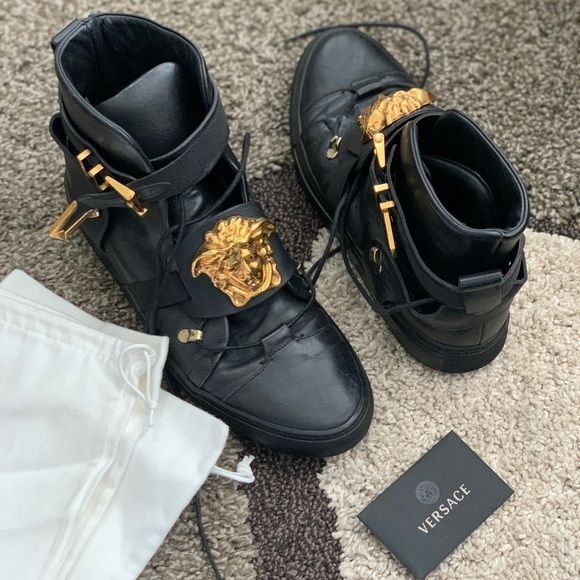 Versace men's Vitello Elastico Sneakers