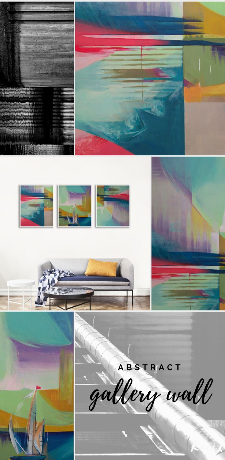 Abstract art print set for a modern living room or office. Get inspired by these prints of original acrylic painting in a bold color palette! Modern abstract compositions with creative shapes, lights, and shadows, ready to print!  #gallerywall  #abstract #abstractart #moderndesign #livingroomdecor #printableart #kacixart