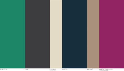 """NellyRodi - """"Austerity""""- Color trend FW 2017/18 - Trends (#708739)// NellyRodi - """"Austerity""""- Color trend FW 2017/18  With strong, poetic force the Japanese spirit calligraphs a range of irregular matte colors. The palette borrows its rich shades from the noble materials crafted by Japan's great artisans. The dazzling contrast between fuchsia and green tones shakes up the almost monastic rigor of this radical philosophy of life."""