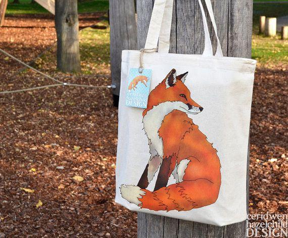 Fox Fair Trade Tote Bag, Reusable Shopper Bag, Cotton Tote, Shopping Bag, Eco Tote Bag