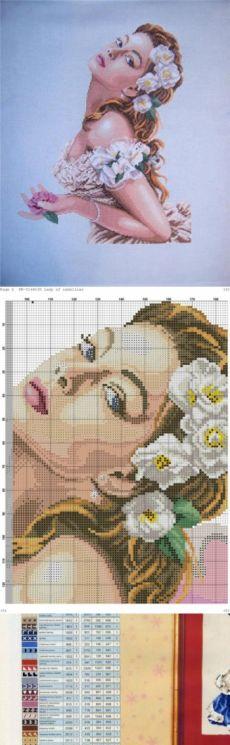 Вышивка крестом дама с цветком.Женские образы схемы для вышивки | Я Хозяйка