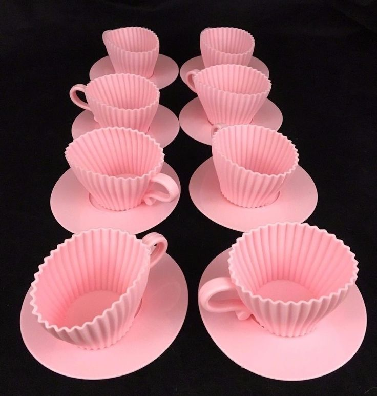 Teacup Cake Molds Pack Of 8 Pink Silicone Teacup Cupcake Mold Saucers Bake Serve #KoleImports