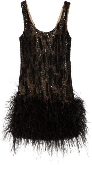OSCAR DE LA RENTA   Feather-trimmed Silk-mesh Dress