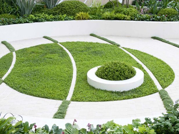 chamomile circular design garden interlocking lawn paving
