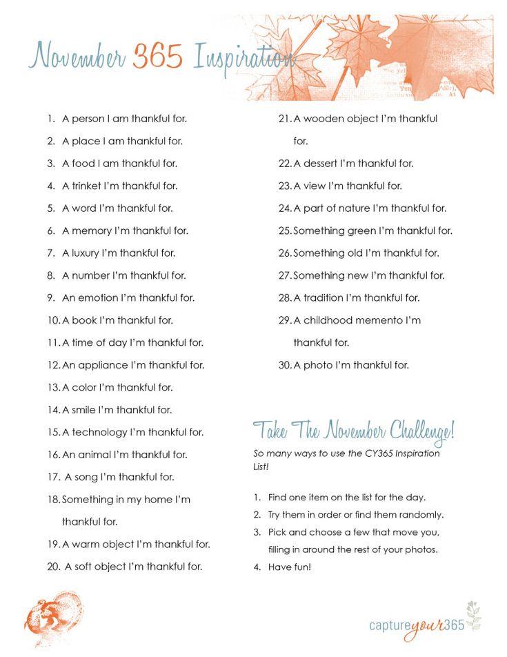 Project 365 Idea List Gratitude Thanksgiving