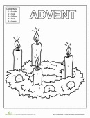 Color in this Advent candles coloring page and count the weeks to Christmas.