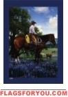 Cowboy / Bluebonnets Garden Flag