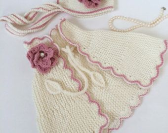 Knitted Santa Baby Set With Hat Scarf Mitten by Minnoshko on Etsy