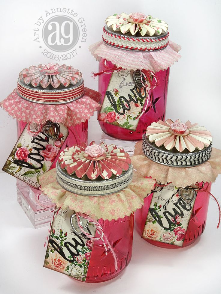 Uses mini mason jars and rosettes - good tips on coloring jars. Annette's Creative Journey