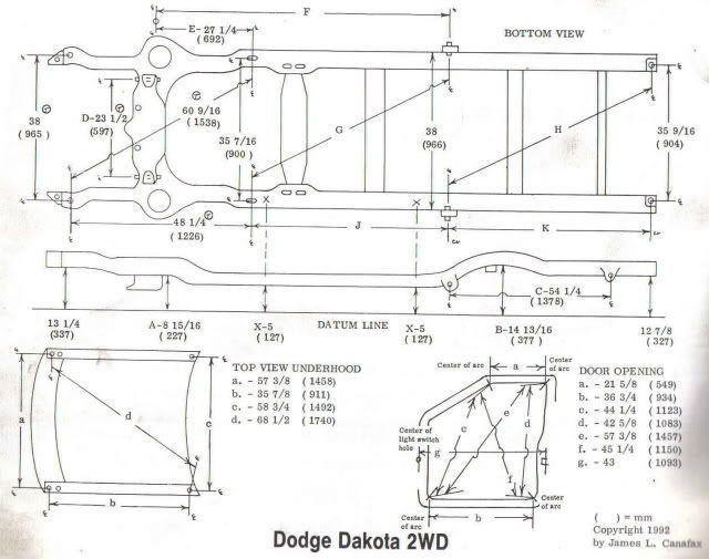 Dakota Frame Dimensions Hot Rod Tech Info Pinterest