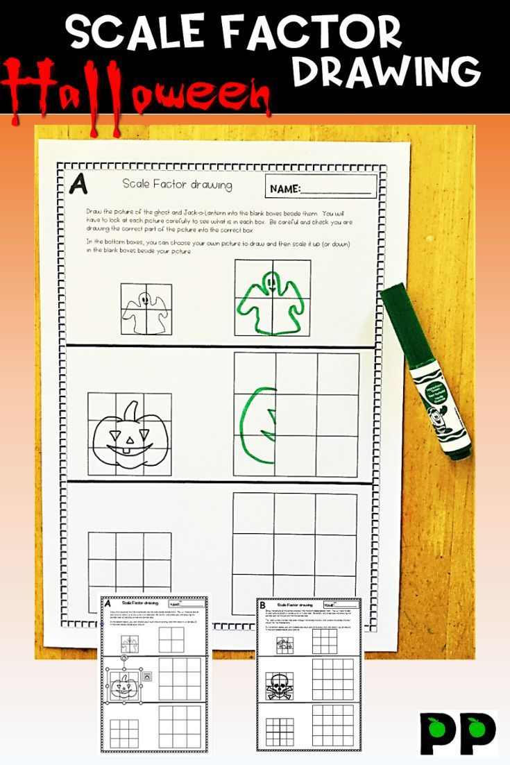 Halloween Theme Scale Factor Drawing 8 Pgs Teacher Notes Teacher Notes Halloween Themes Busy Teacher
