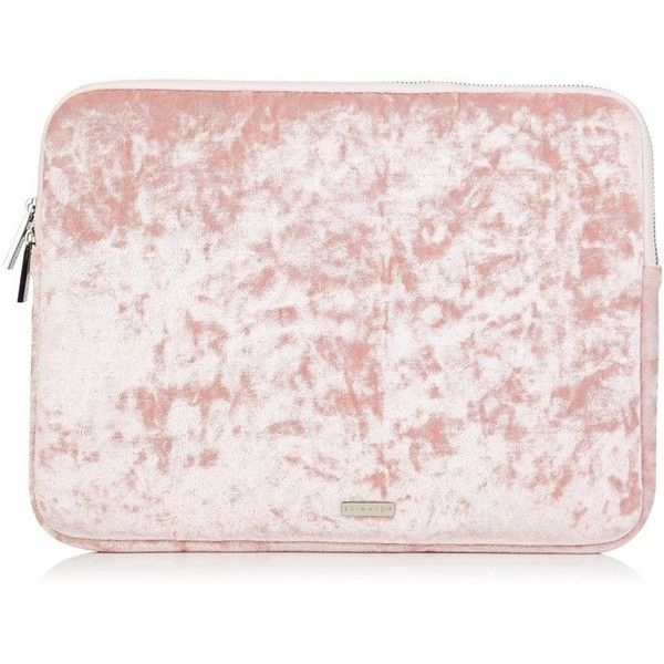"Pink Crushed Velvet 13"" Laptop Case ❤ liked on Polyvore featuring accessories, tech accessories, laptop sleeve cases, laptop cases and pink laptop cases"