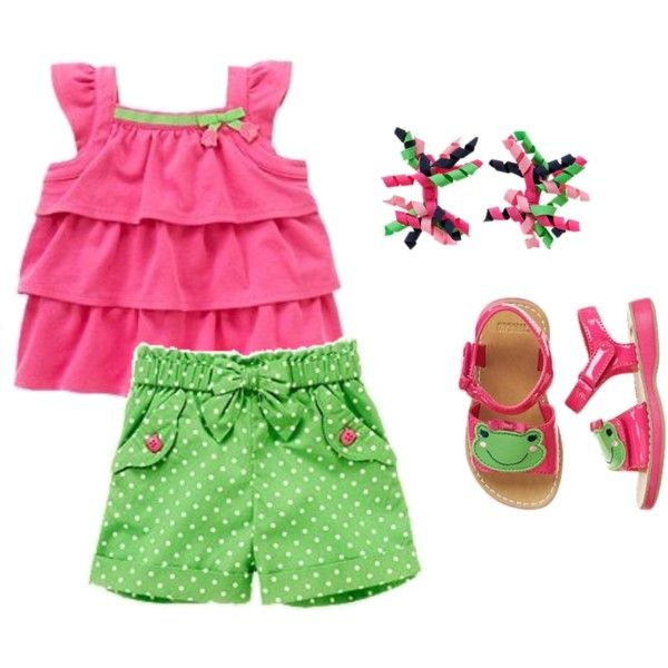 """Gymboree """"Bright Tulip"""" Baby Girl Set, created by leslie-fiore.polyvore.com"""