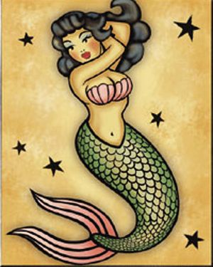 Mermaid pin-up by mistyreese at DEVIANTART...sailor jerry tattoo mermaid