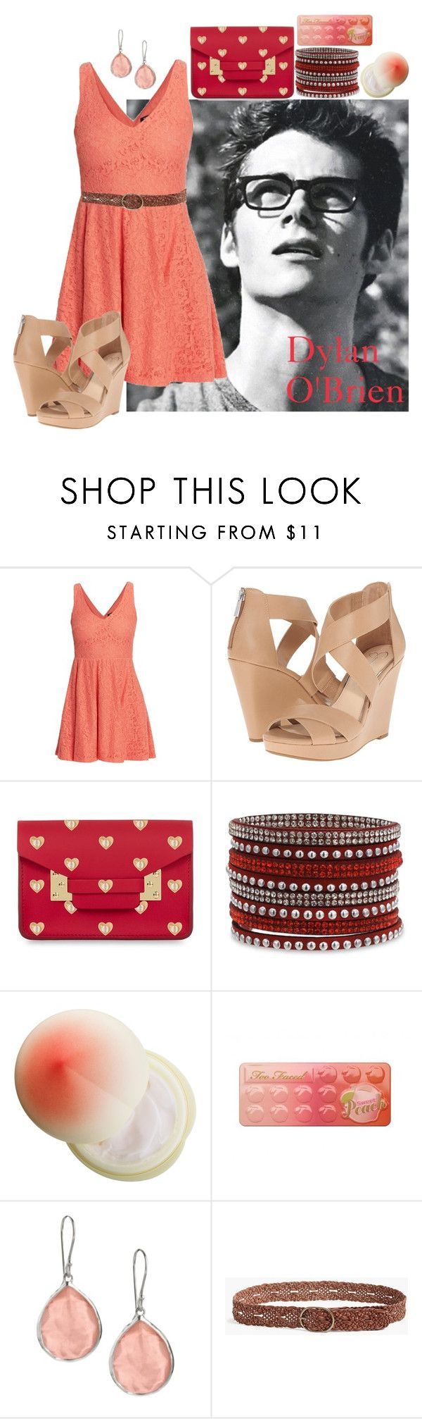 """""""Dylan O'Brien"""" by yosei-no-megami ❤ liked on Polyvore featuring Morgan, Jessica Simpson, Sophie Hulme, Tony Moly, Too Faced Cosmetics, Ippolita, Lucky Brand, peach, blackandwhite and TeenWolf"""