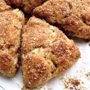 Fresh Apple Cinnamon Scones With King Arthur Unbleached All-purpose Flour, Granulated Sugar, Salt, Baking Powder, Apple Pie Spice, Butter, Apples, Cinnamon Sticks, Large Eggs, Vanilla Extract, Unsweetened Applesauce, White Sugar, Ground Cinnamon