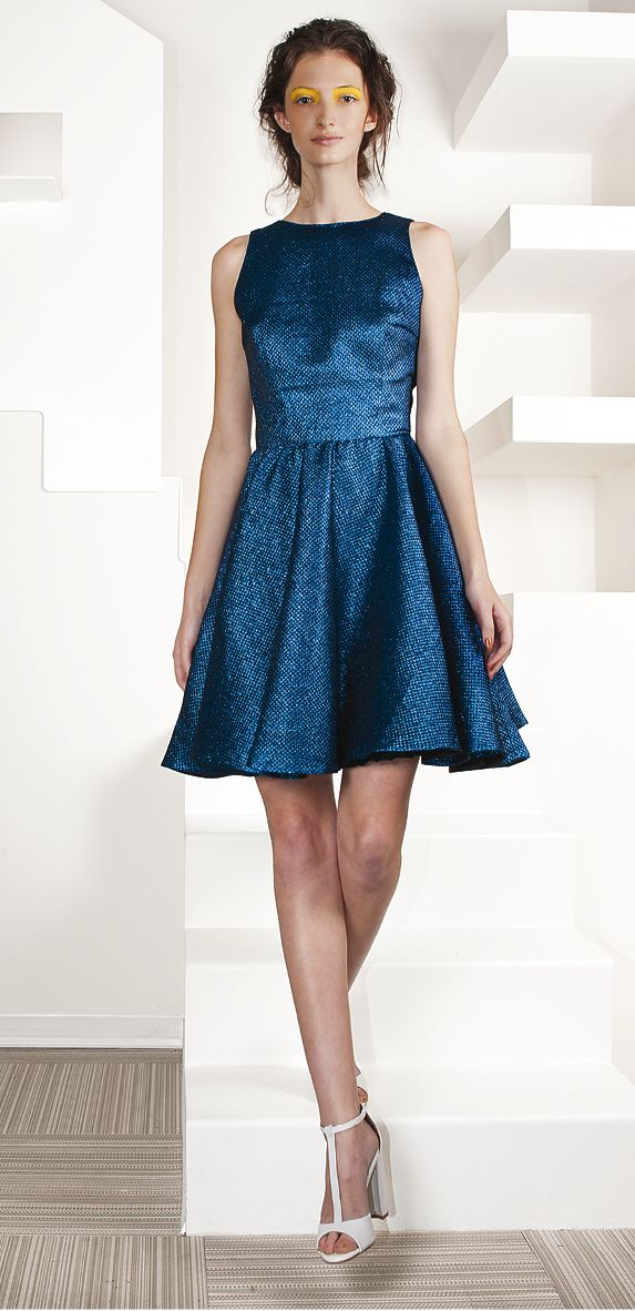 lurex dress in blue