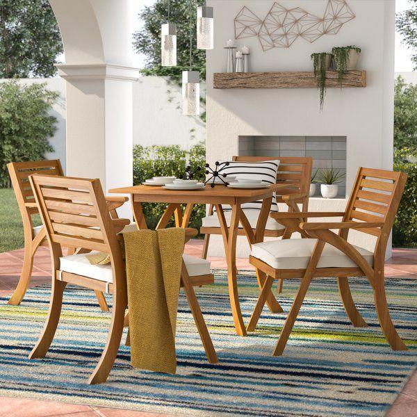 Mercury Row Ajax 5 Piece Dining Set With Cushions Reviews Wayfair Discount Outdoor Furniture Patio Dining Set Patio Inspiration